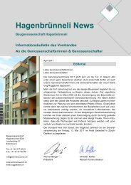 Hagenbrünneli News - Baugenossenschaft Hagenbrünneli