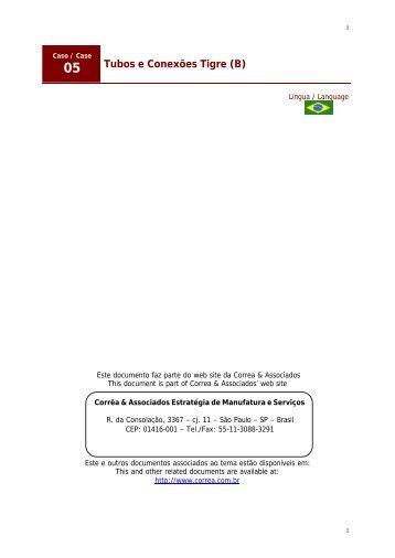 Estudo de Caso - Tubos e Conexões Tigre (B) - Correa & Associados