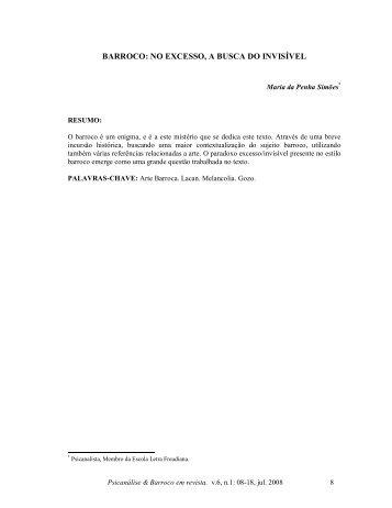 BARROCO: NO EXCESSO, A BUSCA DO INVISÍVEL - Psicanálise ...