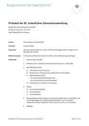 Protokoll der 62. ordentlichen ... - Baugenossenschaft Hagenbrünneli