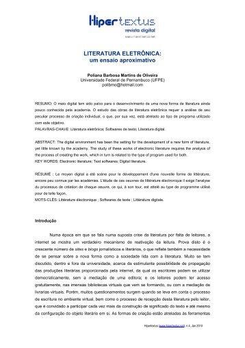 Literatura eletrônica - Hipertextus Revista Digital