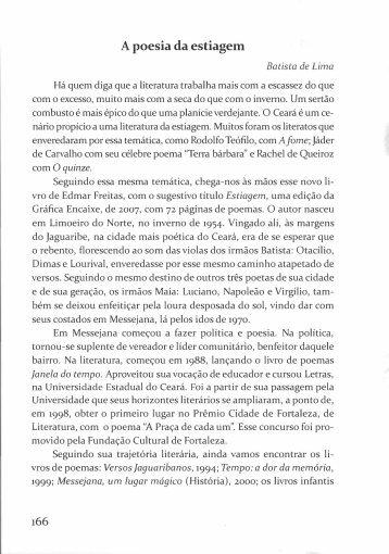 A poesia da estiagem - Batista de Lima - Portal da História do Ceará