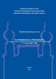 da promoção à prevenção - Centro de Pesquisas Aggeu Magalhães ...