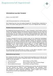 Informationen aus dem Vorstand - Baugenossenschaft Hagenbrünneli