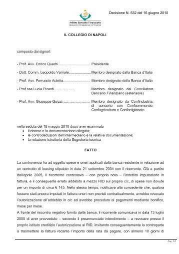 Decisione N. 532 del 16 giugno 2010 - Arbitro Bancario Finanziario