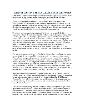 código de conduta empresarial da sealed air corporation