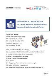 Informationen in Leichter Sprache zur Tagung Migration und ...