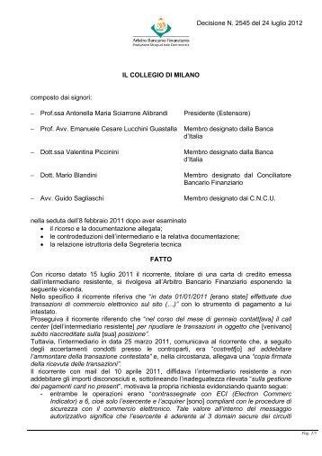 Decisione N. 2545 del 24 luglio 2012 - Arbitro Bancario Finanziario