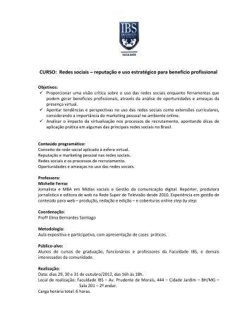 Redes sociais – reputação e uso estratégico para ... - Faculdade IBS