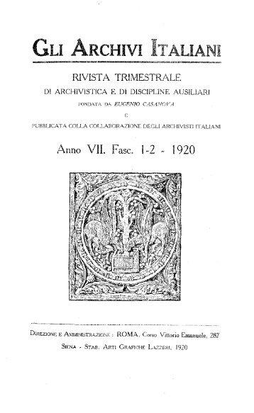 Anno VII, fasc. 1-2, 1920 - Istituto Centrale per gli Archivi