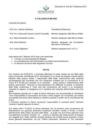 Decisione N. 444 del 15 febbraio 2012 - Arbitro Bancario Finanziario