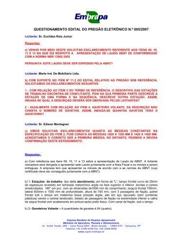 questionamento edital do pregão eletrônico n.º 005/2007 - Embrapa ...