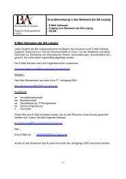 E-Mail Adressen der BA Leipzig - staatliche Studienakademie Leipzig