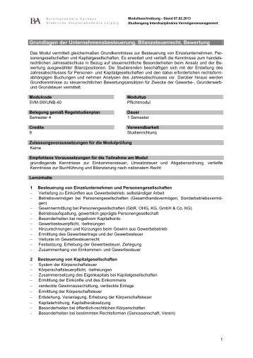 Allgemeine BWL - Grundlagen - staatliche Studienakademie Leipzig