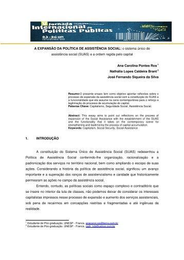 A EXPANSÃO DA POLÍTICA DE ASSISTÊNCIA SOCIAL: o sistema ...