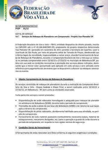 Projeto Voa Planador - SP - Serviços de Reboque de - FBVV ...