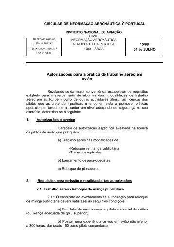 Autorizações para a prática de trabalho aéreo em avião - Instituto ...