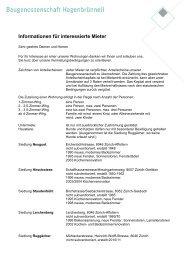 Informationen für interessierte Mieter