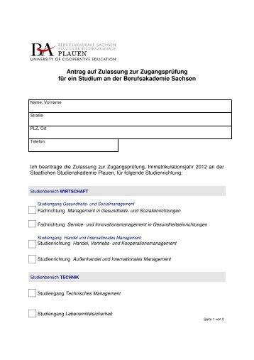 Antrag auf Zulassung zur Zugangsprüfung für ein Studium an der ...
