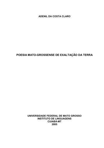 POESIA MATO-GROSSENSE DE EXALTAÇÃO DA TERRA - UFMT