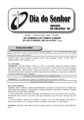 29º DOMINGO DO TEMPO COMUM - Diocese de Colatina/ES