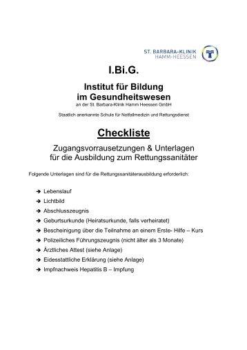 Checkliste RS 2010 - St. Barbara-Klinik Hamm-Heessen GmbH