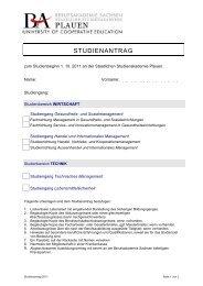STUDIENANTRAG - Staatliche Studienakademie Plauen