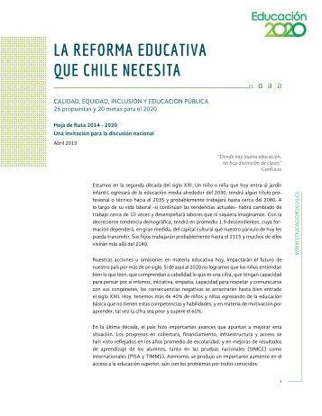 La RefoRma educativa que chiLe necesita