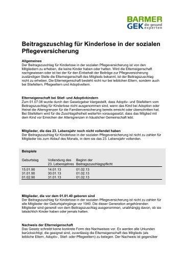 Beitragszuschlag für Kinderlose - Barmer GEK