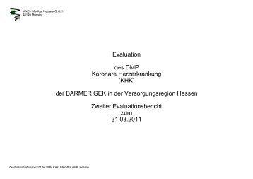 Evaluation des DMP Koronare Herzerkrankung (KHK ... - Barmer GEK