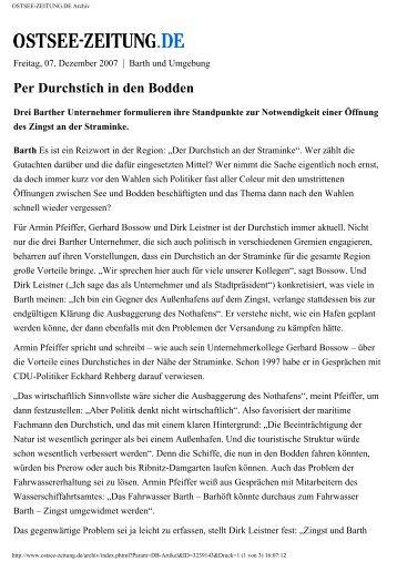 Per Durchstich in den Bodden - Schiffswerft Barth GmbH