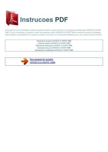 Manual do usuário GENIUS G-NOTE 7000 - INSTRUCOES PDF