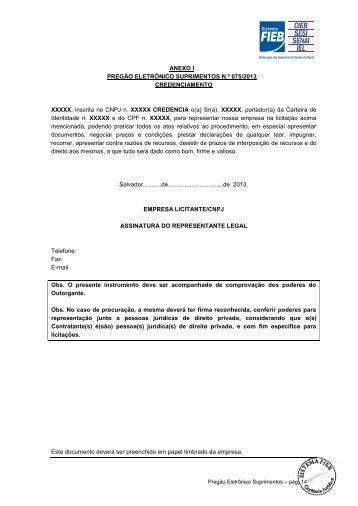 ANEXO I PREGÃO ELETRÔNICO SUPRIMENTOS N.º 075 ... - Fieb