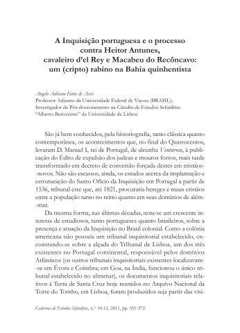 A Inquisição portuguesa e o processo contra Heitor Antunes ...