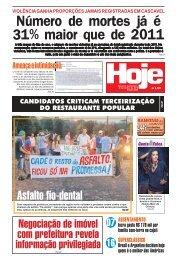 Número de mortes já é 31% maior que de 2011 - Jornal Hoje