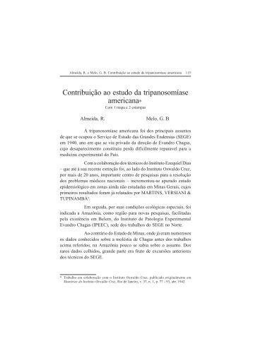 Contribuição ao estudo da tripanosomíase americana - Governo do ...