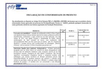 DECLARAÇÃO DE CONFORMIDADE DE PRODUTO - Hemominas