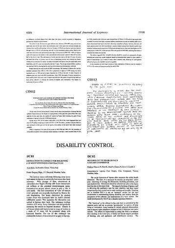 DISABILITY CONTROL - Instituto Lauro de Souza Lima
