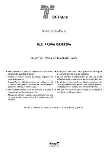 013. PROVA OBJETIVA - Questões de Concursos