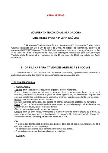 DIRETRIZES PARA AS PILCHAS e ENCILHAS - 2010 - 1ª Região . 2e2d183aa0d