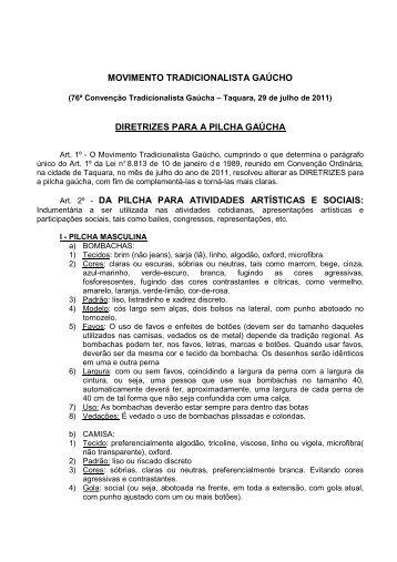 Diretrizes para as Pilchas (.pdf) - Movimento Tradicionalista Gaúcho