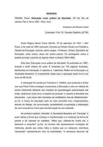RESENHA FREIRE, Paulo. Educação como prática da ... - UFTM