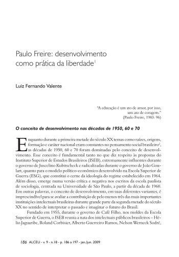 Paulo Freire: desenvolvimento como prática da liberdade - Alceu