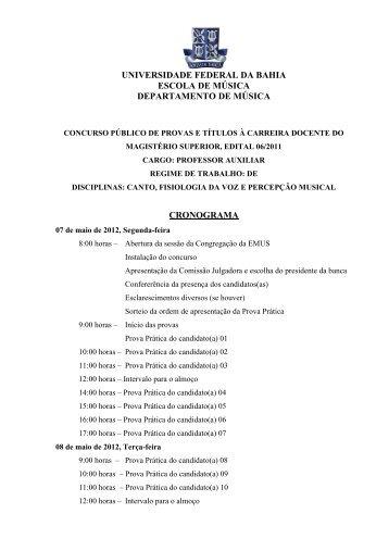 Dep. Música - Concursos - Universidade Federal da Bahia