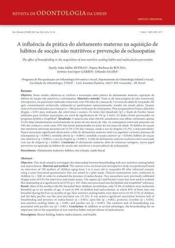 A influência da prática do aleitamento materno na aquisição de ...