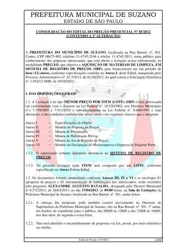 nº: 85/2012 – objeto: aquisição de materiais de - Suzano