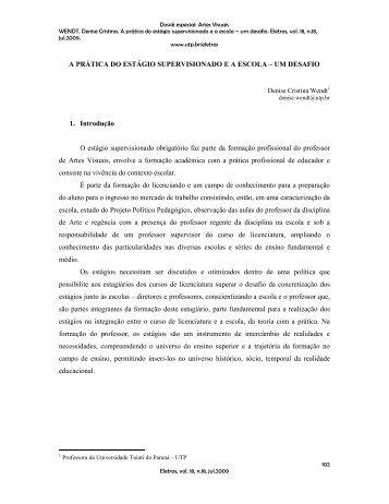 A PRÁTICA DO ESTÁGIO SUPERVISIONADO E A ESCOLA – UM ...