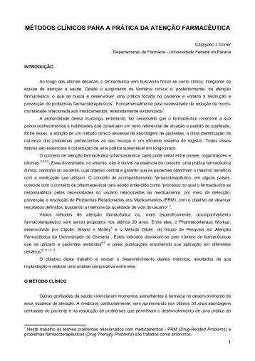 métodos clínicos para a prática da atenção farmacêutica - UFPI
