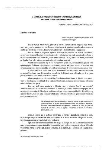 A EXPERIÊNCIA DO DIÁLOGO FILOSÓFICO COM ... - ppgel/ileel/ufu