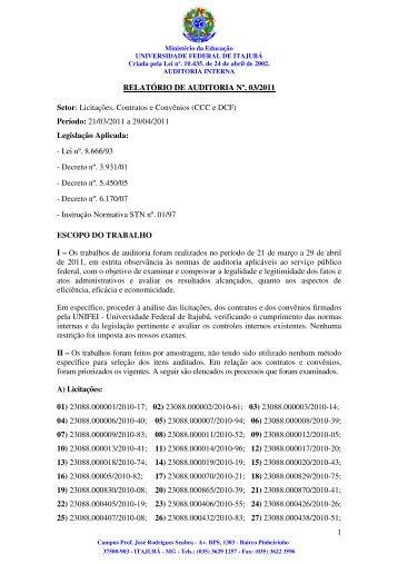 Licitações, Contratos e Convênios - Unifei